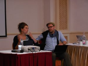 "Perrine Lachenal & Christoph Schwarz about ""Moral Economy"" (Photo: Anne-Linda Amira Augustin)"