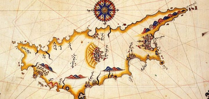 Cyprus in the 16th-century Kitab-ı Bahriye (Book of Navigation) of Piri Reis, an Ottoman admiral. Source: Wikipedia